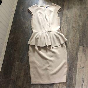 Closet London | Cream Peplum Sheath Dress